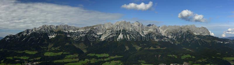 Wilder Kaiser Panorama, Tirol, Austria. Panorama of Tirol`s famous mountain area Wilder Kaiser in Kitzbuheler alps - Austria stock photos