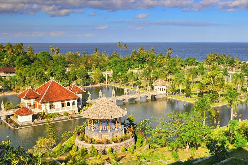 Panorama of Tirtagangga Taman Ujung water palace on Bali, Indonesia.  stock image