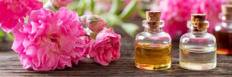 Panorama- titelrad av flaskor och rosor för nödvändig olja royaltyfria foton