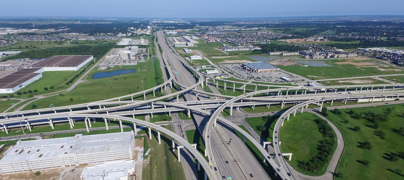 Panoramic vertical view Katy freeway Interstate 10 with clear bl royalty free stock photos