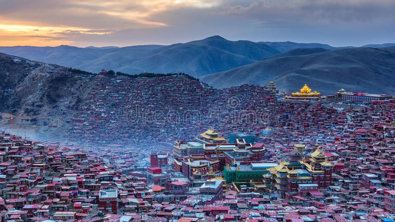 Panorama top view monastery at Larung gar stock image