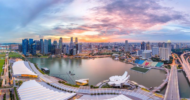 Top view of Singapore City skyline at sunset. Panorama top view of Singapore City skyline at sunset royalty free stock photos