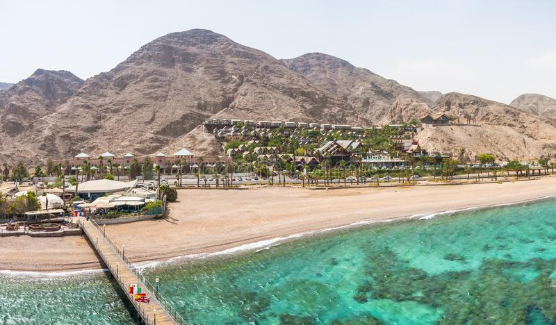 Panorama from the Tower of Underwater Observatory Marine Park in Eilat. Desert mountains with hotels areas. stock photo