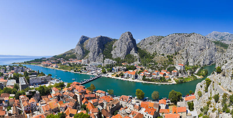Panorama of town Omis in Croatia royalty free stock images