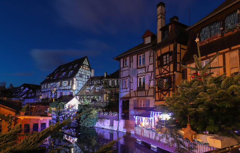 Panorama of traditional Alsatian half-timbered houses and river Lauch in little Venice quarter, old town of Colmar, Alsace, France stock images