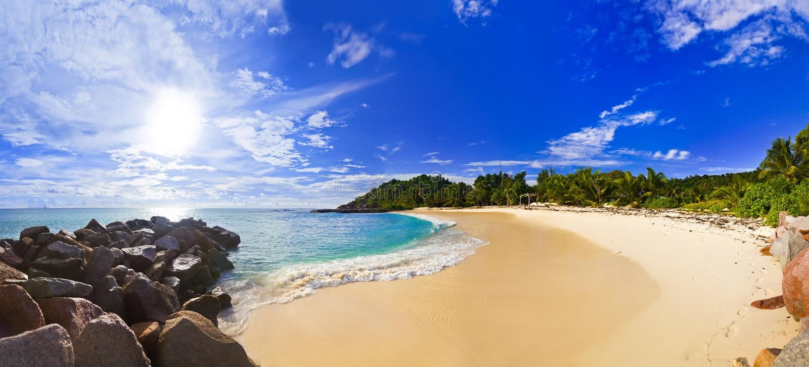 Download Panorama Of Tropical Beach At Evening Stock Photo - Image: 27297018