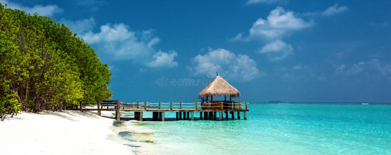 Panorama tropical de plage photographie stock libre de droits
