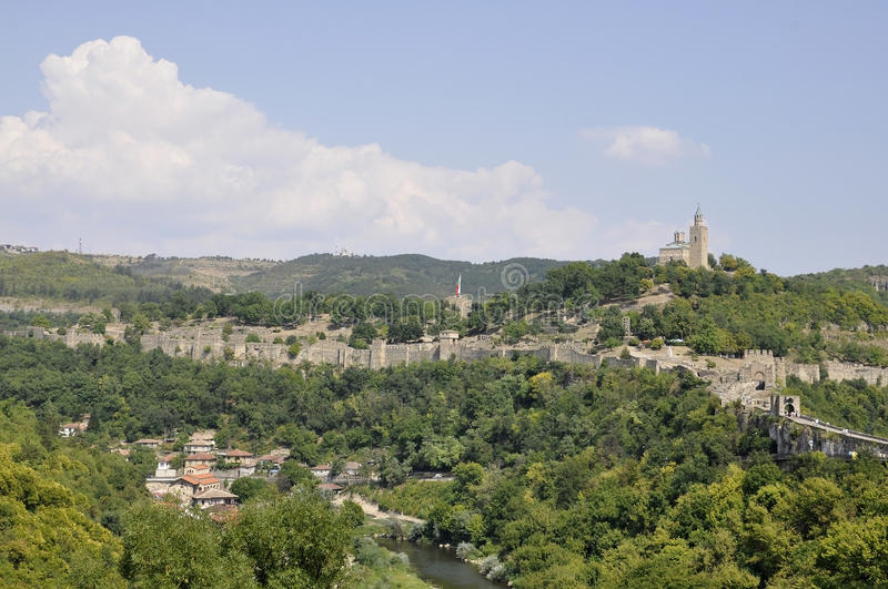 Panorama with Tsarevets fortress and Yantra river from Veliko Tarnovo in Bulgaria stock image