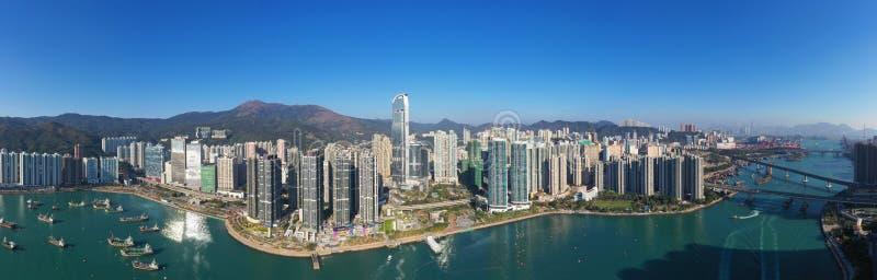 Panorama of Tsuen Wan West stock images