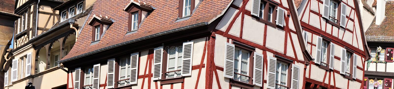 Panorama of tudor german architecture royalty free stock photo