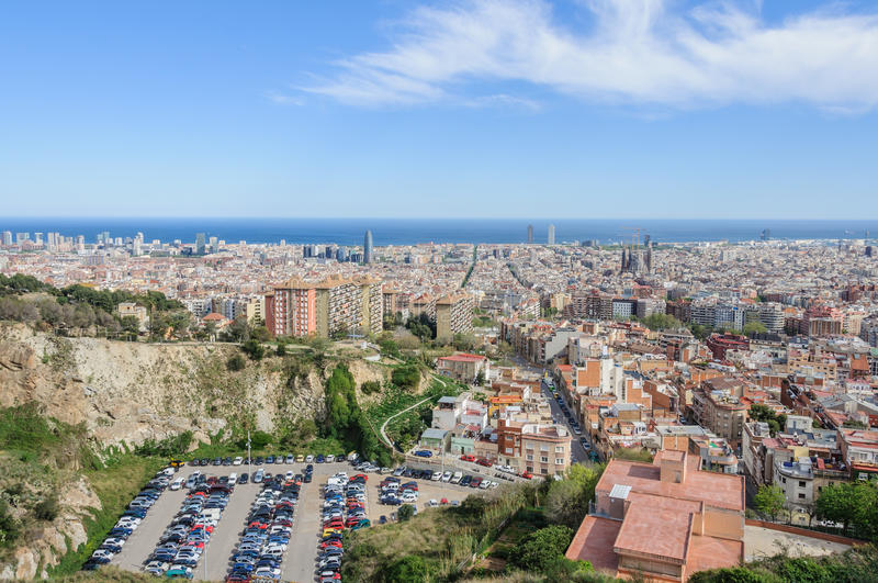 Panorama from Turo del Rovira in Barcelona, Spain. Panorama on a sunny day from the hill of Turo del Rovira in Barcelona, Catalonia, Spain stock image