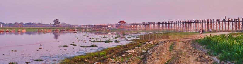 Panorama of U Bein Bridge and Taungthaman Lake, Amarapura, Myanmar royalty free stock photo
