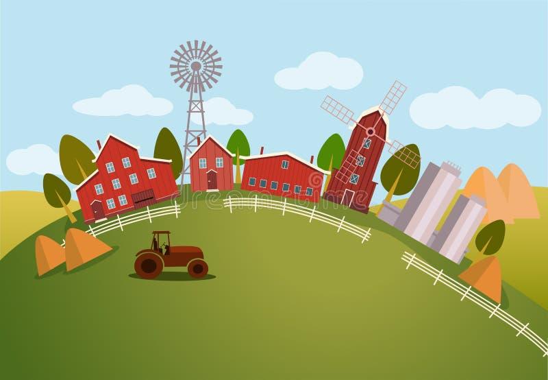 Panorama u opinión escénica sobre el tractor de granja ilustración del vector