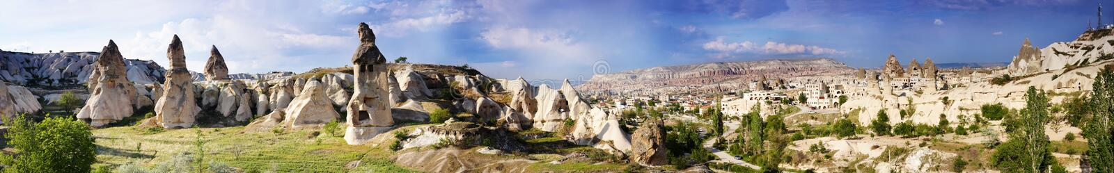 Panorama of the Uchisar valley and the city of Goreme. stock image