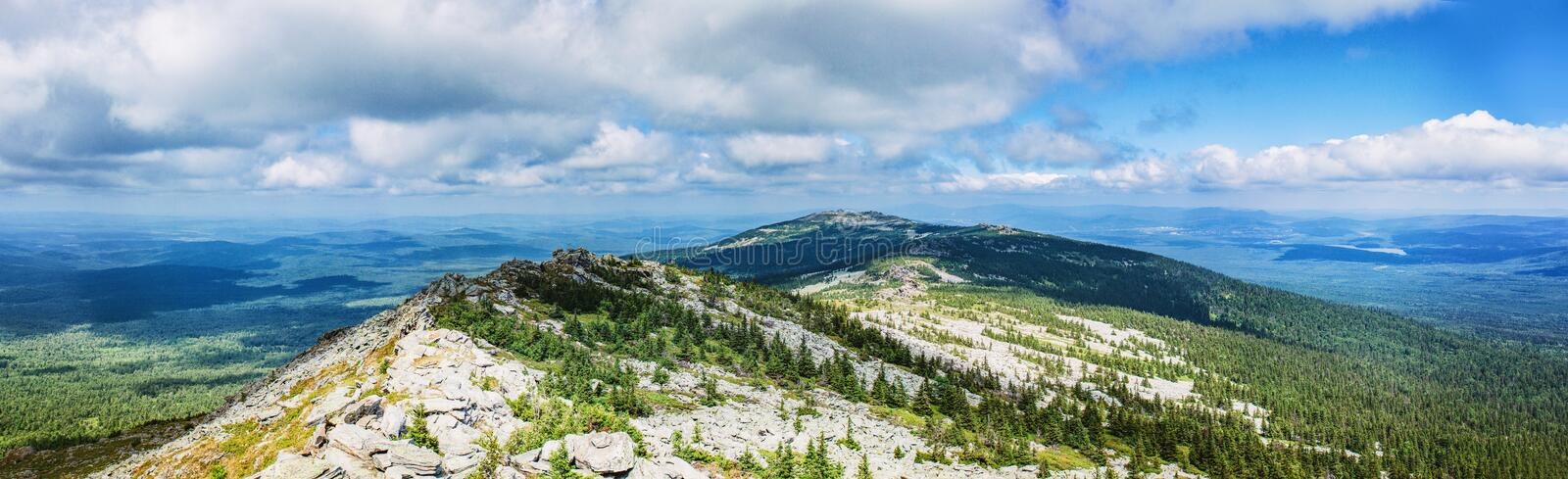 Panorama of the Ural mountains. Near the town of Zlatoust A beautiful place in the southern part of the Urals stock photography