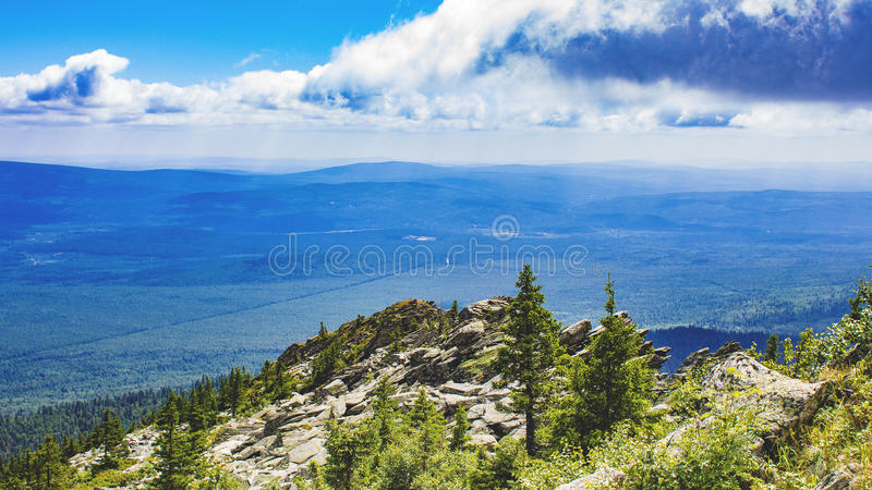 Panorama of the Ural mountains. Near the town of Zlatoust A beautiful place in the southern part of the Urals royalty free stock photos