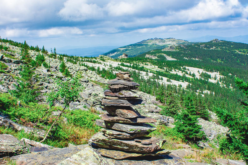 Panorama of the Ural mountains. Near the town of Zlatoust A beautiful place in the southern part of the Urals stock photo