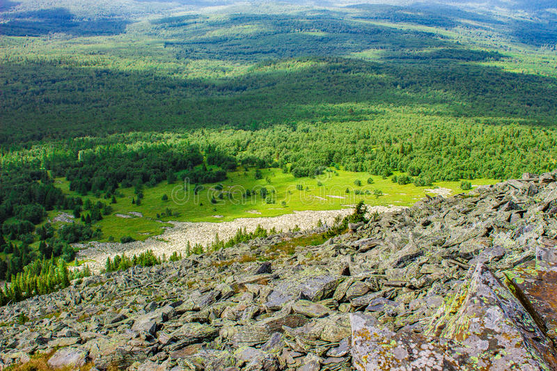 Panorama of the Ural mountains. Near the town of ZlatoustnA beautiful place in the southern part of the Urals royalty free stock photos