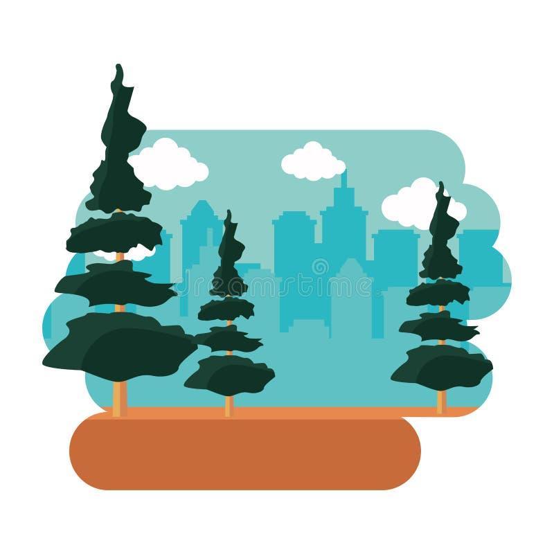 Panorama urbain de Park City d'arbre illustration libre de droits