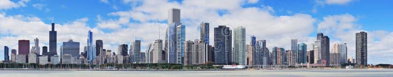 Panorama urbano dell'orizzonte della città del Chicago immagini stock libere da diritti