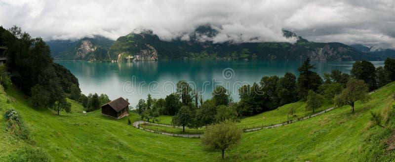 Panorama of Urnersee lake in Switzerland stock photography