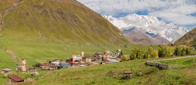 Panorama Ushguli, Svaneti supérieur, la Géorgie photographie stock libre de droits