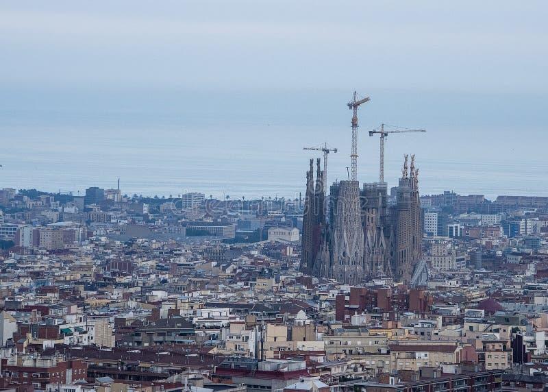 Panorama uwypukla budowę Sagrada Familia katedra Barcelona Hiszpania fotografia royalty free