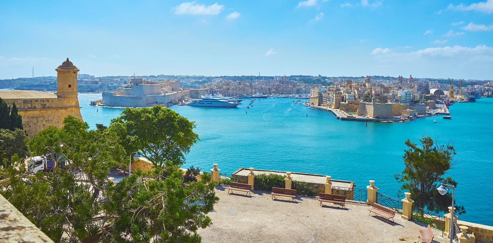 Panorama of Valletta Grand Harbour with St Peter and Paul Counterguard, Malta royalty free stock photo