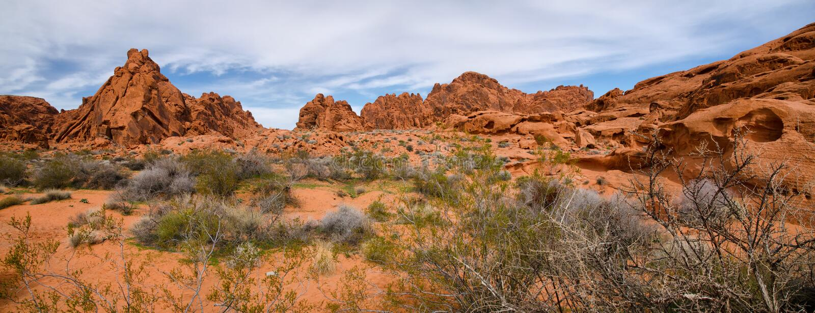 Panorama of Valley of the Fire State Park, Nevada. Rock formations in Valley of Fire State Park, Nevada royalty free stock photography