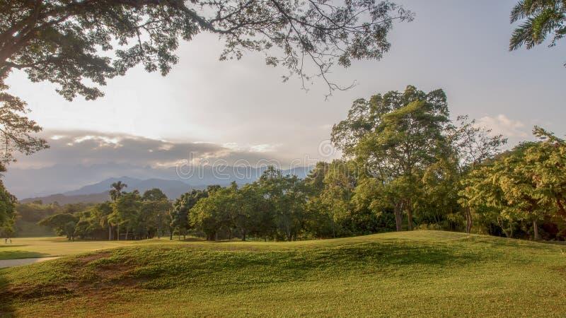 Panorama van één gat in een golf cours stock foto