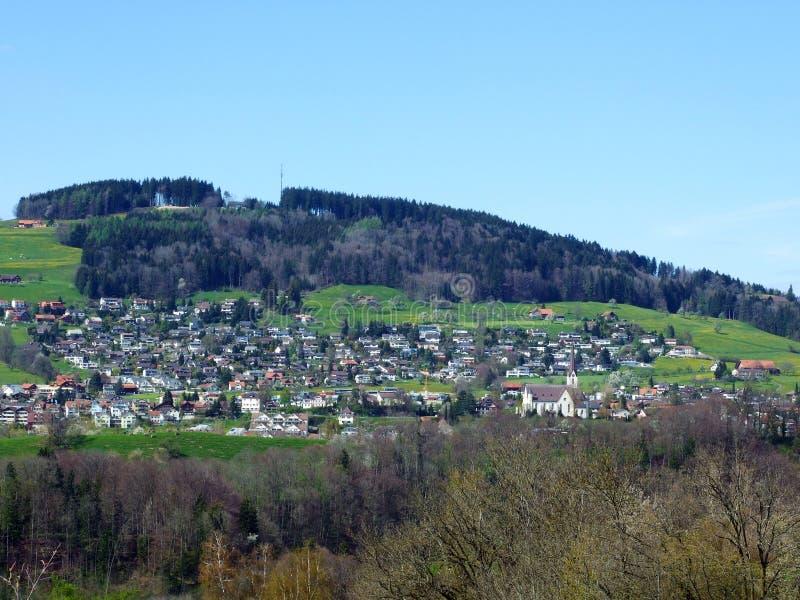Panorama van Abtwil stock fotografie
