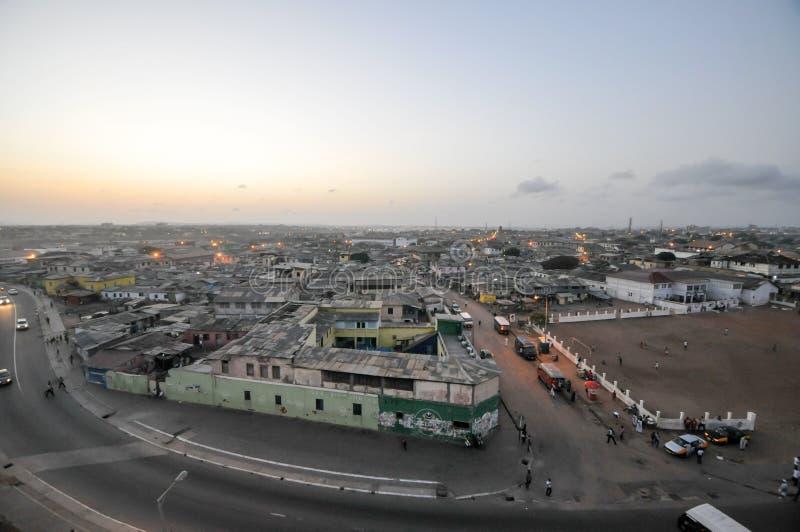 Panorama van Accra, Ghana stock foto's