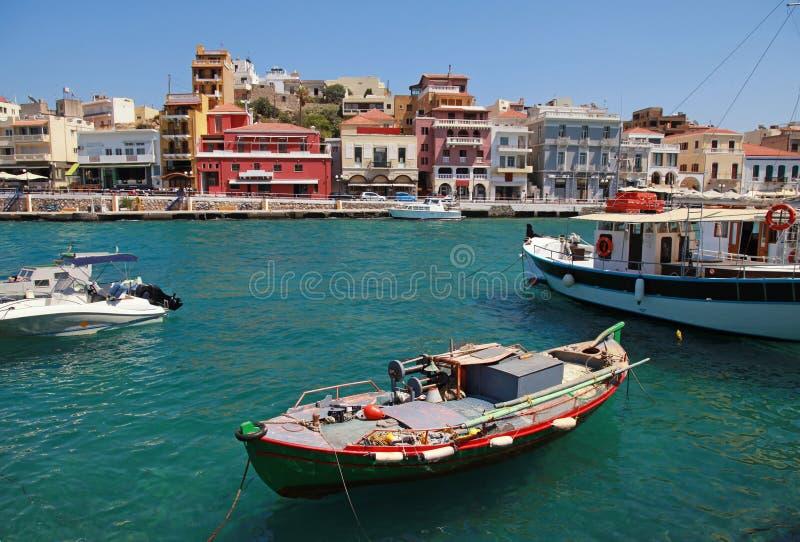 Panorama van Aghios Nikolaos in Kreta, Griekenland. stock afbeelding