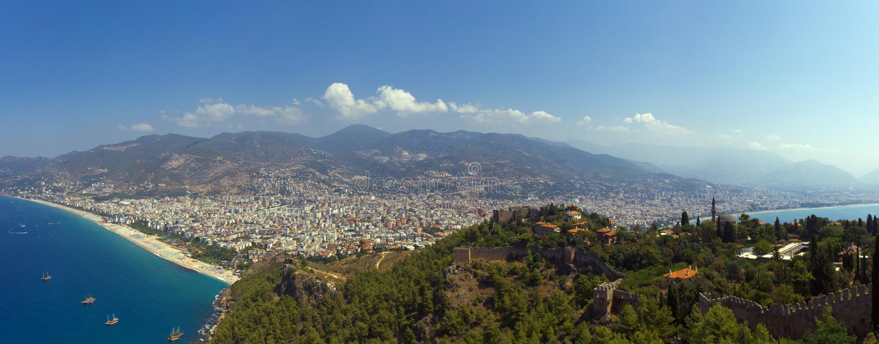 Panorama van Alanya stock afbeelding