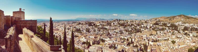 Panorama van Alhambra, Granada, Spanje stock foto's