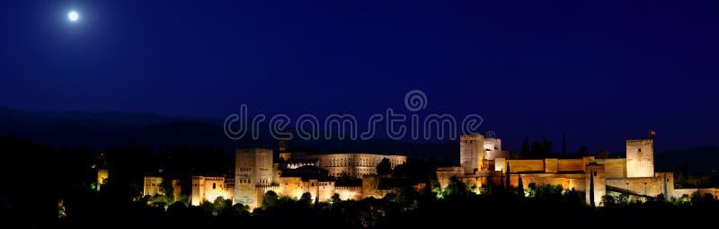 Panorama van Alhambra paleis in de blauwe uren Granada - Andalusia, Spanje, bekeek van Mirador San Nicolas stock foto's