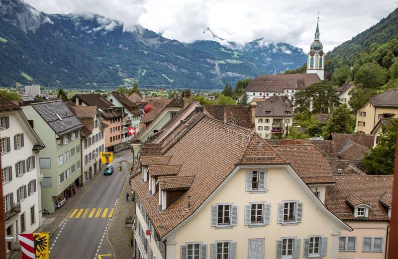 Panorama van Altdorf-stad in Zwitserland stock afbeeldingen