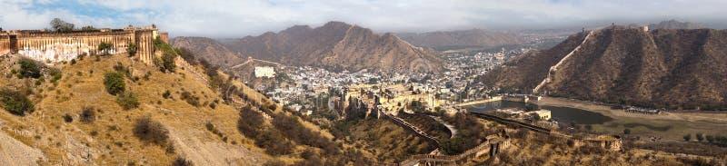 Panorama van AmberFort. Jaipur, India royalty-vrije stock foto's