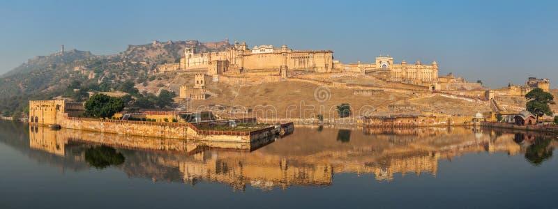Panorama van Amer (Amber) fort, Rajasthan, India stock foto
