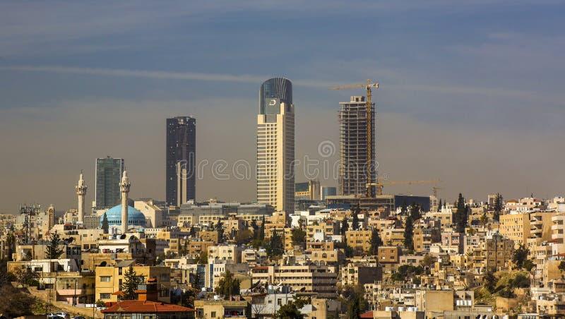 Panorama van Amman, Jordanië ` s kapitaal royalty-vrije stock afbeeldingen