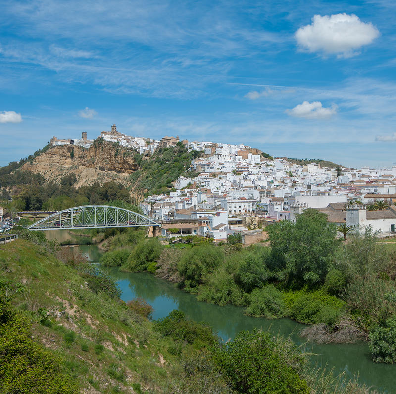 Panorama van Arcos DE La Frontera, Andalusia, Spanje royalty-vrije stock fotografie