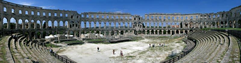 Panorama van Arena in Pula royalty-vrije stock afbeeldingen