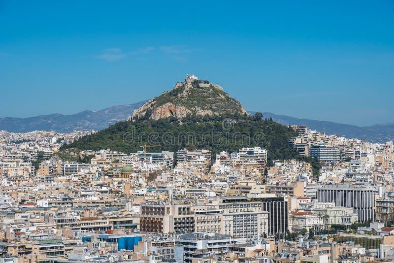 Panorama van Athene van Akropolisheuvel, zonnige dag royalty-vrije stock afbeeldingen