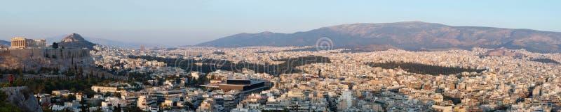 Panorama van Athene en Akropolis, Griekenland, de Balkan stock foto's