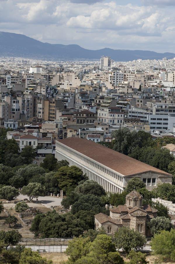 Panorama van Athene - Griekenland stock afbeelding