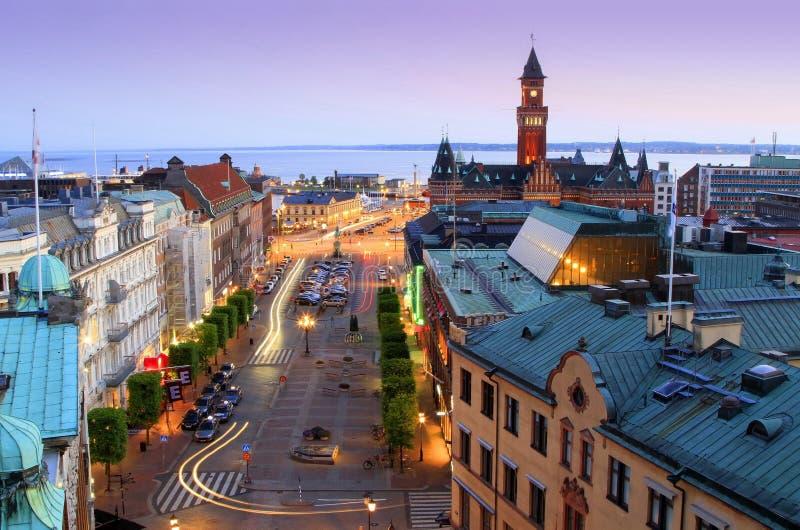 Panorama van avond Helsingborg stock afbeeldingen