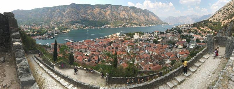 Panorama van Baai van Kotor in Montenegro royalty-vrije stock afbeelding