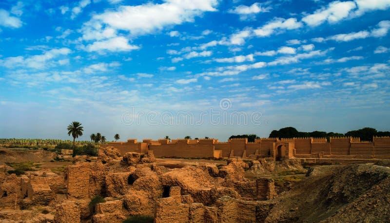 Panorama van Babylon-ruïnes, Hillah, Irak stock foto's
