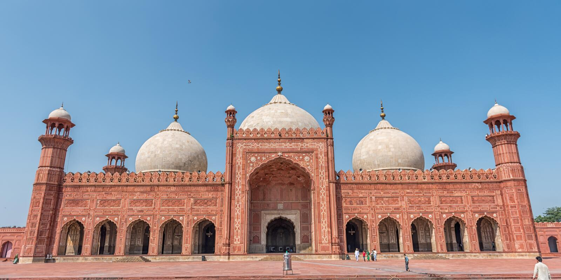 Panorama van Badshahi-Moskee stock foto's