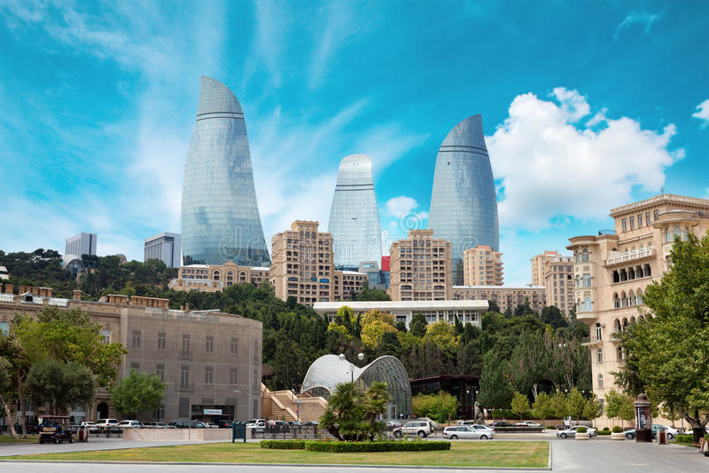 Panorama van Baku stad, Azerbeidzjan stock foto's